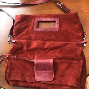 Gorgeous Rust Suede Clutch / Crossbody / Handbag